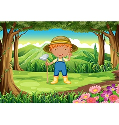A young gardener at the forest vector