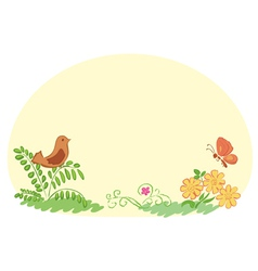 Light yellow background with flora and fauna vector