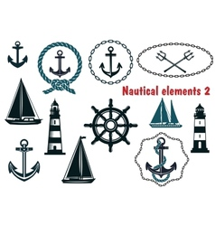 Set of nautical heraldry themed elements vector