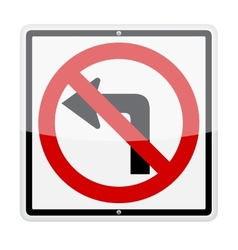 No left turn sign vector