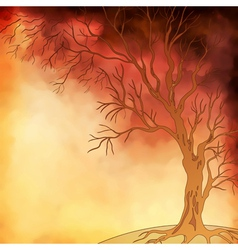Watercolor painting autumn tree vector