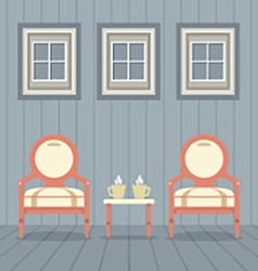 Vintage chairs set with coffee cup under three vector