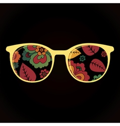 Glasses with colorful flowers on black background vector image