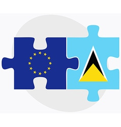 European union and saint lucia flags vector