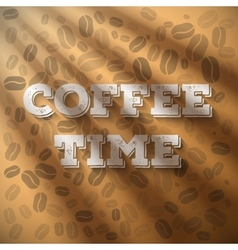 Morning coffee time phrase with sun shine flares vector