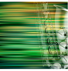 Abstract green blur background with saxophone vector