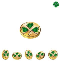 Coins with green clover 2 vector