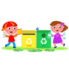 Two cute children recycling vector image