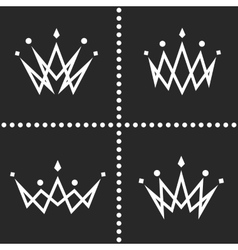 Set crowns logo monogram silhouette thin line vector