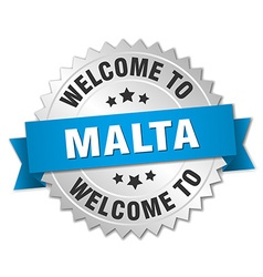 Malta 3d silver badge with blue ribbon vector