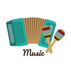 Accordion maraca icon music instrument vector