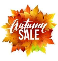 Autumn sale lettering design Fall leaf Label vector image