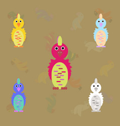 Cockatoo parrots collection birds set vector