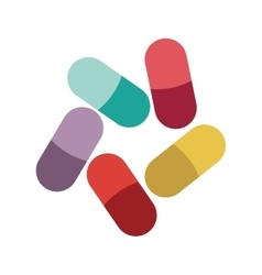 Colored pills and granules medical vector