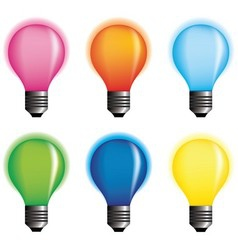 Coloured bulbs vector image vector image
