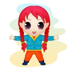 Cute anime chibi little girl simple cartoon style vector