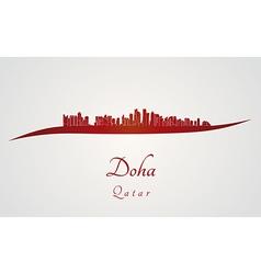 Doha skyline in red vector