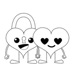 Dotted shape happy couple hearts kawaii cartoons vector