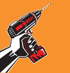 Hand with a drill vector image