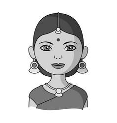 hindu womanhuman race single icon in monochrome vector image vector image