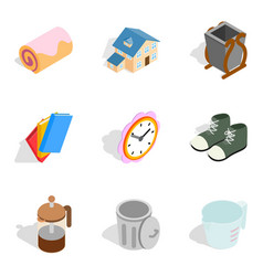 Home comfort icons set isometric style vector