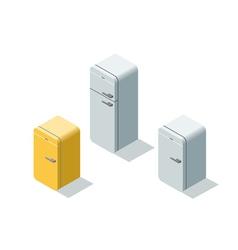 isometric set of fridges 3d flat refrigerator vector image vector image