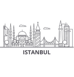 Istanbul architecture line skyline vector