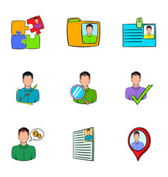 Job search icons set cartoon style vector