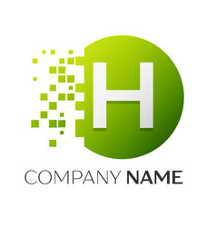 Letter h logo symbol in the colorful circle vector