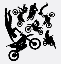 Motocross sport silhouettes vector image vector image