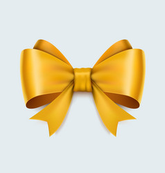 realistic yellow bow isolated on white background vector image vector image