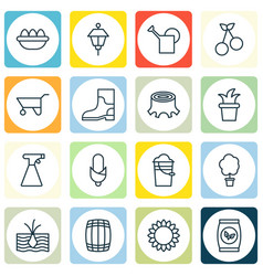 Set of 16 farm icons includes cask bailer bush vector
