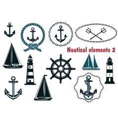 Set of nautical heraldry themed elements vector