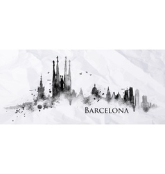 Silhouette ink Barcelona vector image vector image