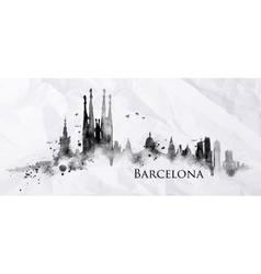 Silhouette ink Barcelona vector image