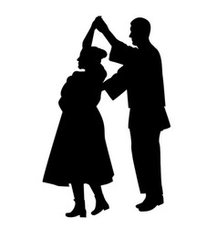 Silhouette of dancers dancing a traditional dance vector