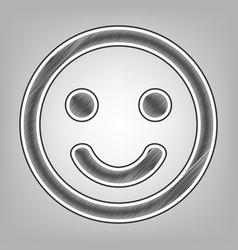 Smile icon pencil sketch imitation dark vector