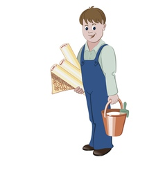 The handyman standing with rolls of wallpaper vector image vector image