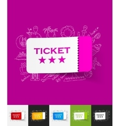 Ticket paper sticker with hand drawn elements vector