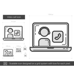 Video call line icon vector