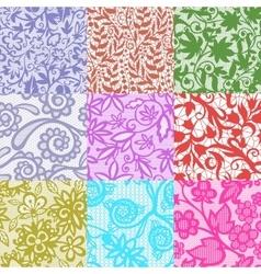 Vintage floral seamless pattern set vector image vector image