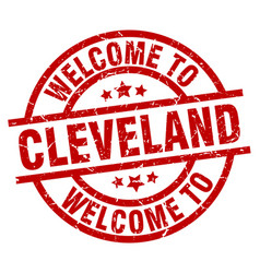 Welcome to cleveland red stamp vector