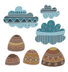 Winter clouds and rocks hand drawn set vector
