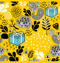 Yellow background seamless pattern with holiday vector