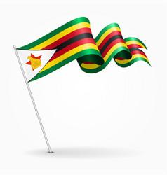 zimbabwe pin wavy flag vector image vector image