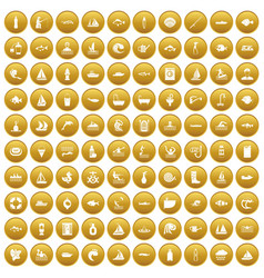 100 water icons set gold vector