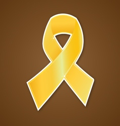 Breast cancer ribbon gold symbol vector