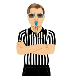 Referee blowing whistle with arms folded vector