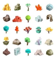 Trees rock stone boulder cave cristal rune cartoon vector image