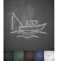 Boat icon hand drawn vector